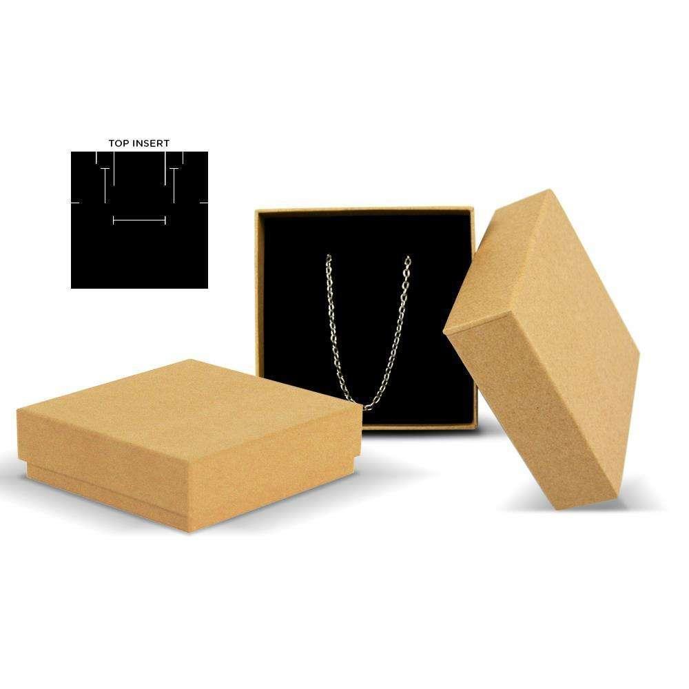 Madison Natural Kraft Jewellery Box Black Insert 25pcsCTN New