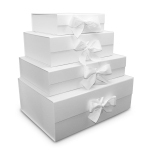 Ice Foldable Rigid Boxes with White Ribbon