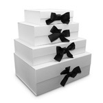 Ice Foldable Rigid Boxes with Black Ribbon