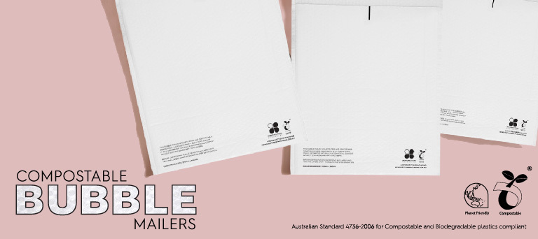 Compostable White Bubble Mailer Envelopes